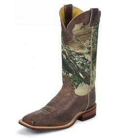 Justin Camo & Chocolate Cowhide Square Toe Cowboy Boots: Made in the USA