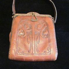 1910's Leather Purse Tooled Handbag Art Nouveau Purse Vintage Purse Antique Leather Handbag