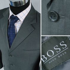 Looking For Designer Suit Jacket?. Read on. HUGO BOSS in Grey colour. 80% Wool 20% Polyester, No Pattern, Smooth Texture. ESTIMATED SIZE - L / UK 40. Be one of them! Use label size or my estimated sizeonly as guideline. | eBay!