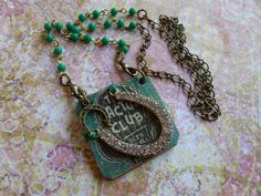 Rhinestone CACTUS CLUB on GREEN Leather by BellaNotteDesigns
