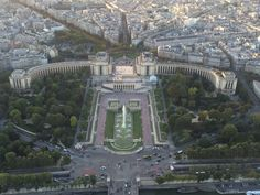 View of Palais de Chaillot & Trocadero Gardens from the Eiffel Tower in Paris, France