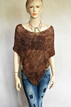 Knit Hand-Made Cover-up Poncho Wrap Sweater by CasadeAngelaCrochet