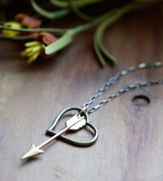 Shot Through the Heart Brass Necklace..