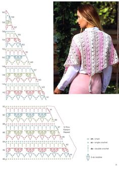 Обсуждение н… – Knitting - Her Crochet One Skein Crochet, Crochet Shrug Pattern, Crochet Diagram, Crochet Chart, Crochet Scarves, Crochet Clothes, Crochet Lace, Crochet Stitches, Crochet Patterns