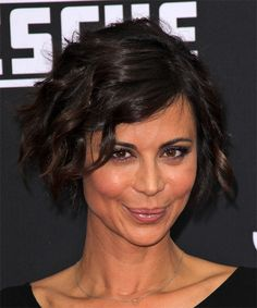Catherine Bell Hairstyle - Short Wavy Casual. Try on this hairstyle and view styling steps! http://www.thehairstyler.com/hairstyles/casual/short/wavy/Catherine-Bell-layered-dark-colored-wavy-casual-hairstyle