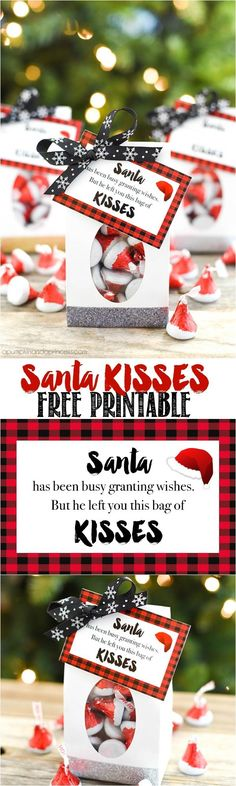 Best Diy Crafts Ideas Santa KISSES Christmas treat bags with cute FREE Printable Gift Tags to attach for a sweet neighbor, friend or teacher gift this holiday season! Christmas Treat Bags, Noel Christmas, Christmas Goodies, Christmas Candy, Diy Christmas Gifts, Holiday Gifts, Holiday Treats, Christmas Parties, Holiday Foods