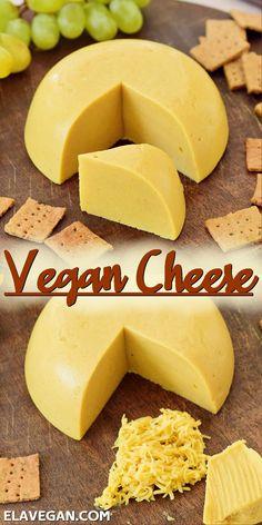 Easy Vegan Cheese Recipe, Best Vegan Cheese, Vegan Cheddar Cheese, Vegan Cheese Sauce, Dairy Free Cheese, Vegetarian Cheese, Delicious Vegan Recipes, Nut Cheese, Vegetarian Recipes