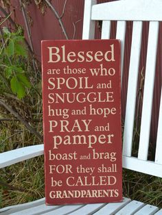 Blessed are those that spoil and snuggle grandparents painted wood sign. $42.00, via Etsy.