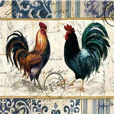 """Custom & Cool {3.5"""" Inches} Set Pack of 4 Square """"Grip Texture"""" Drink Cup Coasters Made of Flexible Poly Fabric w/ Rubber Bottom & Farm Animals Roosters Design [Colorful Orange, Green, Black & White] mySimple Products"""