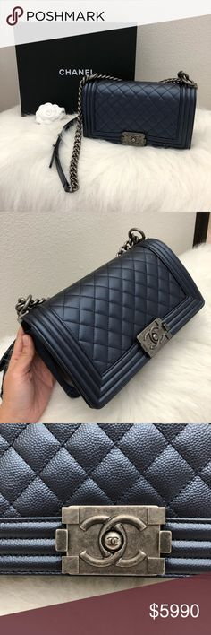 93fbe37c3a72 Chanel metallic Navy caviar medium Boy Only used twice. Will come full set.  x 🅿 🅿 CHANEL Bags Crossbody Bags