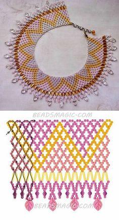 Free pattern for necklace Crystal Leaves és 4 mm csiszolt-szalma gyöngy Diy Necklace Patterns, Beaded Jewelry Patterns, Beading Patterns, Seed Bead Jewelry, Bead Jewellery, Beaded Collar, Gold Collar, Collar Necklace, High Collar