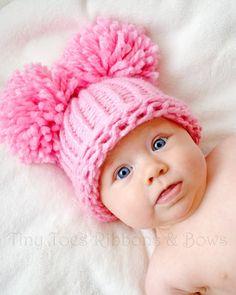 Baby Girl Hat Knit Solid Pink Newborn Pom Pom Hat by inamood, $16.00
