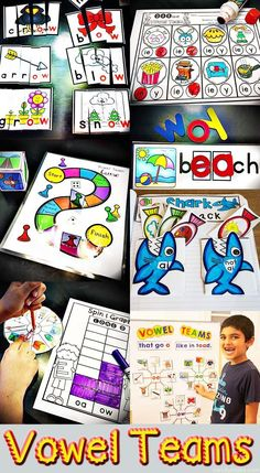 This post is informative on how to make learning the long vowel teams relevant in the classroom. Discusses games and activities to use in a literacy center. Team Activities, Word Work Activities, Phonics Activities, Reading Activities, Teaching Reading, Teaching Ideas, Teaching Materials, Fun Learning, Word Work Centers
