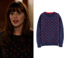 """Jess Day wears a solidier print sweater in New Girl episode """"The Crawl"""""""