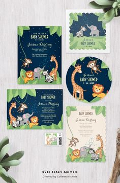 Cute safari animals march across the page in these adorable baby shower invites and accessories. Several different design styles are: one with the animals in a green jungle against a blue night sky, one with cool pastels on a trendy chic chalkboard background, and finally in a super-girly, fancy pink and black style with leopard and zebra print. ♥ Repinned by Annie @ www.perfectpostage.com