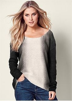 cfc1c27ac974 Shop Dip Dye Scoop Neck Sweater from VENUS to keep you warm and stylish in  cooler