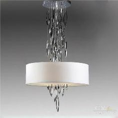 [ $27 OFF ] Art Design Modern Led Lustre Chandeliers Fabric Lampshade Lumiere Hanging Lighting Fixture Stainless Steel Decoration Chandelier