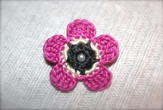 Crochet Flower Daisy Pin Pink Cream and Gray by CatWomanCrafts, $6.00