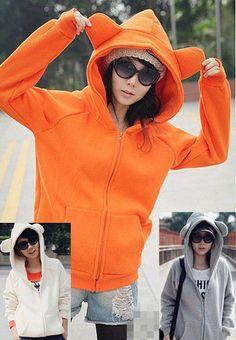 $16.00 Buy 2013 autumn summer lulu cat ears panda ear bear ear flock printing fleece sweatshirt cheap plain zip up hoodie