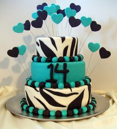 Like The Cake Not Sure About All Hearts 14th Birthday Cakes Zebra