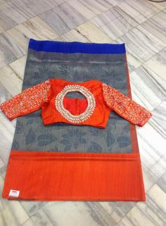 Blue and Orange Saree with mirror embroidery! Blouse Patterns, Saree Blouse Designs, Indian Attire, Indian Outfits, Mirror Work Blouse, Orange Saree, Indian Silk Sarees, Back Neck Designs, Blouse Models