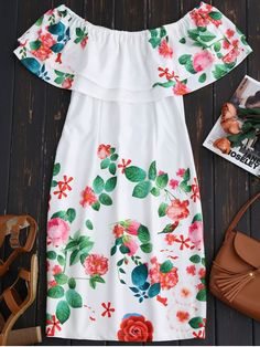 Ruffles Off The Shoulder Sheath Dress - WHITE M A flattering floral sheath dress features pretty ruffles overlay,a sheath silhouette and a knee length cut. Summer Outfits, Cute Outfits, Summer Dresses, Mini Dresses, Party Dresses, Dress P, Bodycon Dress, Dress Clothes, Floral Sheath Dress