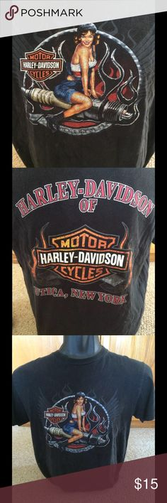 Harley Davidson t shirt sexy hot girl riding Black cotton tee Utica New York size large Harley-Davidson Shirts Tees - Short Sleeve