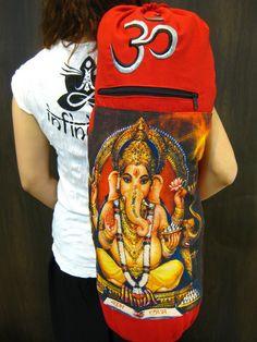 Red Embroidered Ohm + Ganesha Print Cotton & Hemp Yoga Mat Bag