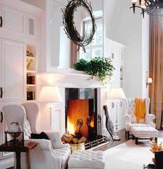 Ivory white fireplace house home deco design idea