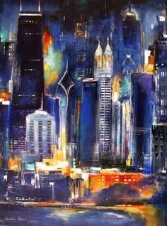 Buy Fine Art Prints of the Chicago skyline. Artwork of Chicago Includes Chicago Paintings and Fine Art Giclee Prints   Chicago Cityscape Skyline Art and Paintings of Chicago