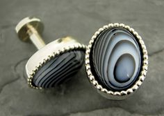 WMDEAN Cufflinks featuring Black lace Agate Cabochon in Pewter. $60