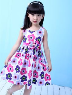 Summer Floral Big Bow Cotton Sleeveless Kids Flower Sundress Party Birthday Lovely Girls Clothes7