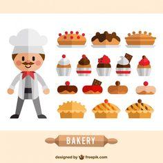 Flat bakery elements Free Vector
