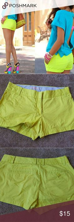 "J Crew Broken In Chino Short Neon lime green yellow chino shorts with 3"" inseam  Worn good condition with some pilling beginning to happen between the legs. J. Crew Shorts"