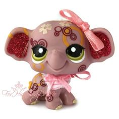 ✵Littlest Pet Shop✵LPS✵2154✵LAVENDER PURPLE PINK SPARKLE GLITTER ELEPHANT✵BOW✵M4 ~~~Isn't she adorable!