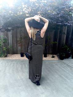 black and white stipes maxi dress