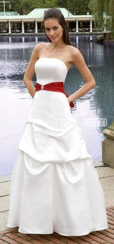 Romantic A-Line Strapless Floor-Length Ruched Beach Wedding Dresses with Belt