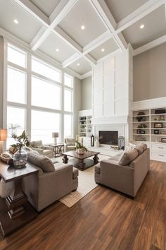 High Ceiling Living Room, Living Room Windows, Living Room Flooring, Living Room With Fireplace, Living Room Sofa, Home Living Room, Living Room Decor, Two Story Fireplace, Fireplace Ideas