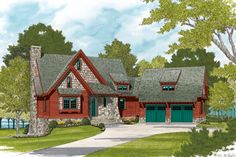 A stone and shake facade with shed dormers, exposed rafters tails, and decorative wood brackets make this cottage design as quaint and picturesque as anyone could imagine. The main level boasts a vaulted ceiling that extends through the entire open living Cottage Floor Plans, Lake House Plans, Cottage House Plans, Cottage Homes, House Floor Plans, Stone House Plans, Cottage House Designs, Cottage Design, Norfolk House