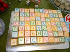 We can have it made out of petit fours baby shower cake ideas abc theme Abc Baby Shower, Baby Shower Gender Reveal, Baby Shower Cakes, Alphabet Party, Alphabet Cake, Square Cupcakes, Wedding Snacks, Baby Wedding, Baby Blocks