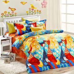 5pcs elegant style colorful cats bedding set   EBeddingSets