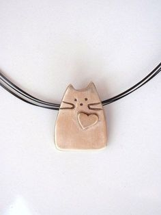Cat Pendant, Modern Design out of Pure Bronze, Whimsical Kitty | GildedOwlJewelry – Jewelry on ArtFire