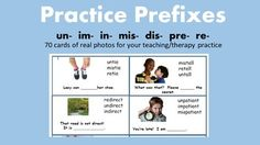 Included are 70 cards ready for you to laminate, cut, and use in your teaching/therapy practice.  These are the same words used in our product:  Prefix/Suffix Flashcards and soon-to-be-released iPad app, Build Words With Suffixes and Prefixes. Our speech/language products are unique because we use real photos rather than cartoons or clipart so that students can make clear connections between words and their referents.