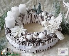 Adventi koszorú (levenduladekor) - Meska.hu Crown, Creative, Christmas, Home Decor, Xmas, Corona, Decoration Home, Room Decor, Navidad