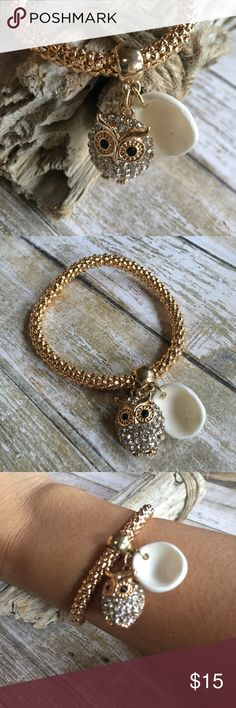 Hawaiian Pueo Owl Bracelet Hawaiian Rhinestone Pueo Owl Bracelet. Fashion gold stretch bracelet. Seashell is real and handpicked from the Island of Maui. Pueo in Hawaiian means Owl. An Owl is the protector of family. Lizzy & Jane Co Jewelry Bracelets