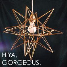 Pretty Little Lady Design: DIY Geometric Moravian Star Pendant Light! That's a mouth-full. Geometric Pendant Light, Geometric Star, Star Pendant, Pendant Lamp, Moravian Star Light, Concrete Candle Holders, Star Lamp, My Art Studio, Designing Women