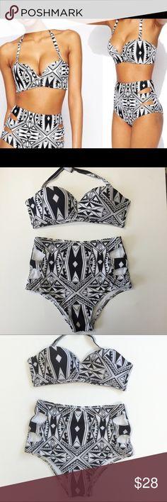 SW 144 Blank and white bikini set Black and white bikini set Swim Bikinis