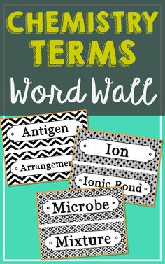 Chemistry Vocabulary Science Word Wall Terms. Each of the 150 chemistry terms has been created in black and white for super easy printing. It's easy to make them stand out with your choice of colored paper. So many uses for these!