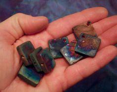Raku Beads, Square Beads, Ceramic Beads, Handmade Bead Supply