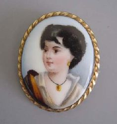 "Victorian ""Vagabond Boy"" Brooch With Hand Painted Details   c.1800"